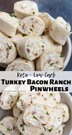 Turkey Bacon Ranch Cream Cheese Pinwheels are a fantastic lunch, snack, appetizer or party finger food. These Turkey Pinwheels are made with low carb tortillas making these tortilla roll ups low carb and Keto friendly. #pinwheels #tortillarolls #lowcarbrecipes #ketorecipes #lowcarb #keto #partyfood #appetizerrecipes Cream Cheese Roll Up, Cream Cheese Pinwheels, Cream Cheese Recipes, Cream Cheese Appetizers, Best Low Carb Recipes, Low Sugar Recipes, No Sugar Foods, Low Carb Appetizers, Appetizer Recipes