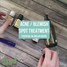 How to make a simple DIY essential oil blemish soothing roller blend, plus the best essential oils for acne, pimples, and oily skin. Essential Oils Pimples, Essential Oils For Skin, Essential Oil Blends, Juniper Berry Essential Oil, Acne Oil, Acne Blemishes, Acne Scars, Simple Diy, Oily Skin