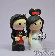 Wedding Cake Topper Superhero Groom & Mouse Ear Bride with Superhero Cake Toppers, Disney Cake Toppers, Mouse Ears, Minnie Mouse, Wedding Bride, Our Wedding, Personalized Wedding Cake Toppers, Cake Table, Handmade Items