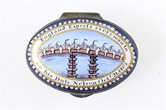 A rare mid-18th˜Century English Staffordshire enamel patch box England expects every man to do hi