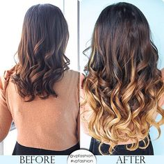 Ombre extensions before and after