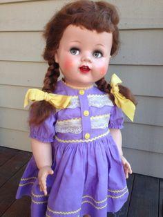 "Vintage 1950s Ideal Saucy Walker 22"" Flirty Eye Doll All Original Head To Toe!"