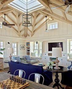 CHIC COASTAL LIVING: Family Style Beach House.....furniture layout and Tv setup