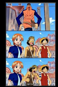 Nami, Usopp, Luffy, funny, quote, comic, text; One Piece