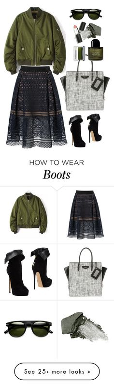 """""""Rotita Pocket Embellished Long Sleeve Army Green Jacket"""" by thestyleartisan on Polyvore featuring self-portrait, Casadei, Balenciaga, Byredo, Urban Decay, Clinique, Sigma Beauty and Gogreen"""