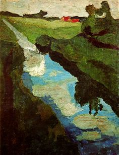 Paula Modersohn-Becker (1876 – 1907) Moorgraben between 1900 and 1902 tempera on paperboard 54.1 × 33 cm (21.3 × 13 in) Private collection