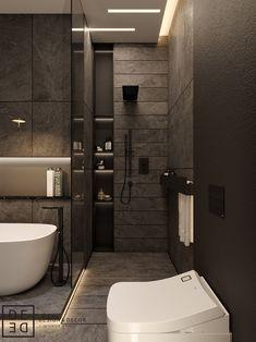 DE&DE/Gorgeous minimalism with wooden accents on Behance Washroom Design, Bathroom Design Luxury, Toilet Design, Modern Bathroom Design, Modern Interior Design, Wooden Bathroom, Small Bathroom, Bathroom Inspiration, Behance