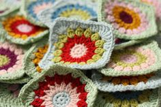 Rosie Posie Grannie Square Tutorial by Cherry Heart, thanks so for sharing; I adore this stitch (Sunburst type). It is so tempting to start another afghan! xox