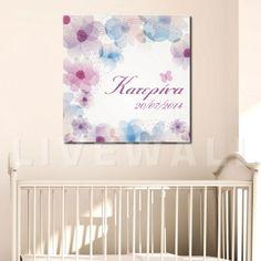 Παιδικός πίνακας σε καμβά κουκουβάγιες με όνομα PinkΠαιδικός πίνακας σε floral dream