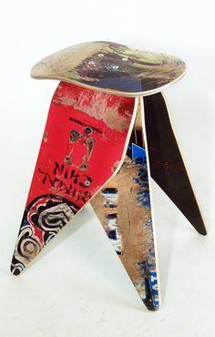 Recycled Skateboard Stool - No.514 by Deckstool. Broken skateboards furniture. Excellent skater gift. Fun, colorful, reuse, Skateboarding