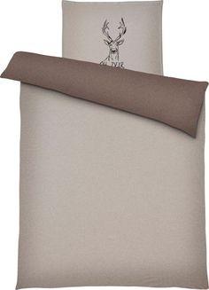 Bettwäsche aus 100% Baumwoll-Jersey in der Farbe Braun/Taupe. B/L: ca. 135/200cm und 80/80cm.