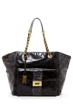 Badgley Mischka Leather Tote with Chain Strap black gold