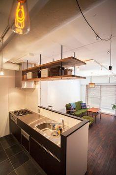 Condo Design, Cafe Design, Ceiling Shelves, Small Condo, Compact Living, Kitchen Shelves, Home Reno, Interior Design Kitchen, Kitchen Countertops