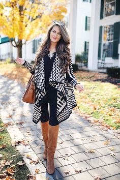 black and white cape, fall fashion, fall outfit, winter outfit, winter fashion, winter style, brown boots, over the knee boots, blogger style, blogger fashion, cute blogger outfit