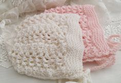 Fan Lace Textured Cashmere Bonnet Hand by PreciousNewbornKnits