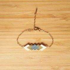 Bracelet Gaia Aqua Plaqué Or et tissage en perles de verre Miyuki : Bracelet par ccedille-bijoux