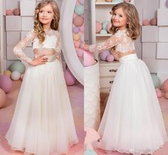 2016 Lovely Kids Pageant Dresses Sexy Sheer Lace Applique Jewel Neck Illusion Long Sleeve Two Pieces A Line Tulle Little Girl Prom Dress Girls Party Dress Girls Special Occasion Dresses From Eiffelbride, $63.32| Dhgate.Com