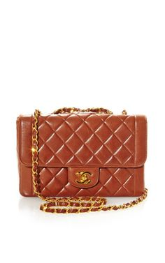 Vintage Chanel Brown Flap Bag From What Goes Around Comes Around by Vintage Chanel for Preorder on Moda Operandi