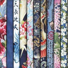 Vente assortiment de coupons de tissus japonais pour le patchwork, dans les tons colorés bleus