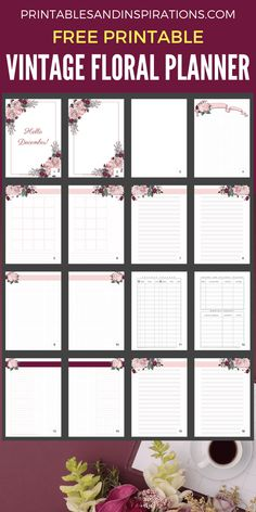 Free Vintage Floral Planner + December Plan With Me! - Printables and Inspirations A5 Planner Printables Free, Agenda Planner, Free Planner, Study Planner, Planner Template, Planner Board, Student Planner Printable, Mom Planner, College Planner