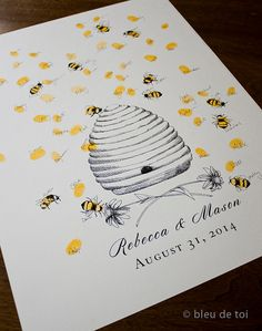 Honey Bee Hive with thumbprint bees Guest book by bleudetoi