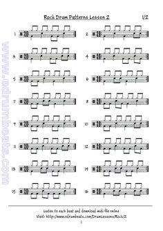 Basic eight-note rock drum beats. Lesson 2 page 1.