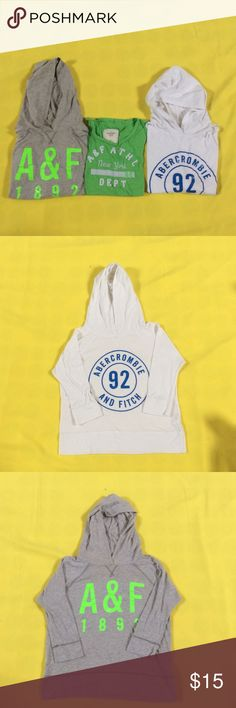 Abercrombie & Fitch bundle. 2 hoodies & 1 T-shirt. Abercrombie & Fitch bundle. Two hoodies size small and one XS T-shirt! In very good condition. Abercrombie & Fitch Tops Sweatshirts & Hoodies