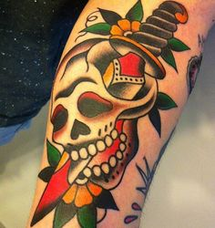 Dagger and Skull American Traditional Tattoo