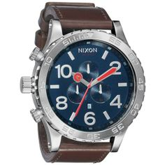 Nixon The 51-30 Chrono Leather Watch in Navy & Brown,Watches for Men - http://www.specialdaysgift.com/nixon-the-51-30-chrono-leather-watch-in-navy-brownwatches-for-men/