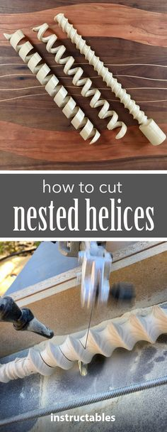 Get instructions for how to make nested helices from wooden dowels.