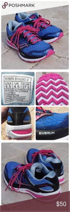 Saucony ISO 2 Running Shoe Saucony Triumph ISO 2 running shoe in blue and pink. Very breathable, comfortable padded collar and tongue. Like new condition, worn outside once. Women's 6.5. Saucony Shoes Sneakers