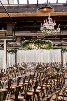 Chic Greenery Wedding at This Industrial Chicago Venue ⋆ Ruffled Glamorous Warehouse Wedding Ceremony // Chicago, Hanging Chandeliers, Hanging Greenery Wreath, Industrial. Simple Wedding Gowns, Fall Wedding Bouquets, Glamorous Wedding, Simple Weddings, Wedding Ideas, Romantic Weddings, Wedding Themes, Wedding Gifts, Wedding Flowers