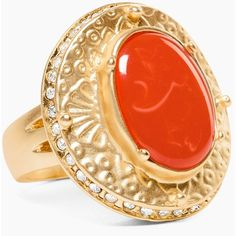 Chico's Ava Ring ($39) ❤ liked on Polyvore featuring jewelry, rings, orange, pave jewelry, pave ring, orange ring, orange jewelry and chicos jewelry