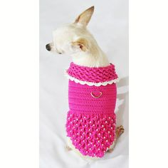 Princess Dog Dresses Pink Luxury Design with Pearls Apparel Handmade Crochet Chihuahua Clothes Pets DF46 by Myknitt - Free Shipping