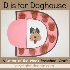 letter of the week craft for preschoolers: D is for Doghouse