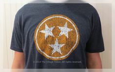 Tennessee Flag Tri-Star in Orange and White on Navy tee by TheVillageTinkerTN on Etsy https://www.etsy.com/listing/220277143/tennessee-flag-tri-star-in-orange-and