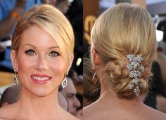 low updo with bangs/front layer out/down - love