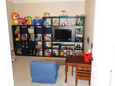 Playroom Organization (Ikea Expedit) Has TV space