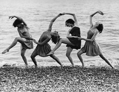 Summer school students of Miss Margaret Morris rehearse on the beach (1934)