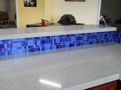 Raised bar with blue liberty mosaics