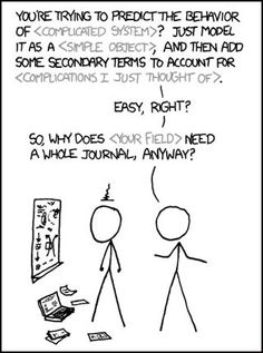 "An xkcd comic showing a physicist condescendingly ""solving"" a complicated problem of another scientist."