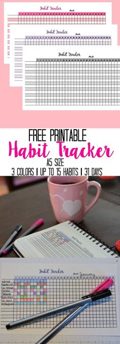 Grab these Free Printable Habit Trackers for your bullet journal or planner. A5 size perfect for Leuchtturm1917 or other A5 journal.