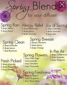 Spring Diffuser Blends - Homemade Wonders from Young Living Essential oils Essential Oil Diffuser Blends, Doterra Essential Oils, Young Living Essential Oils, Edens Garden Essential Oils, Doterra Diffuser, Doterra Blends, Essential Oil Spray, Yl Oils, Geranium Essential Oil