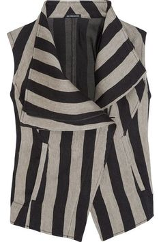 Ann Demeulemeester - Printed Striped Linen-blend Vest - Black - FR
