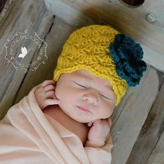 Vintage Inspired Newborn Baby Hat with Flower - Photo Props, Photography Props, Girls, Infant, Yellow, Green (Available in Different Color). $25.00, via Etsy.