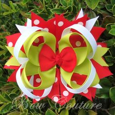 Bow Couture Boutique Grinchy Red and Lime Green Layered Twisted Boutiqe Hair Bow