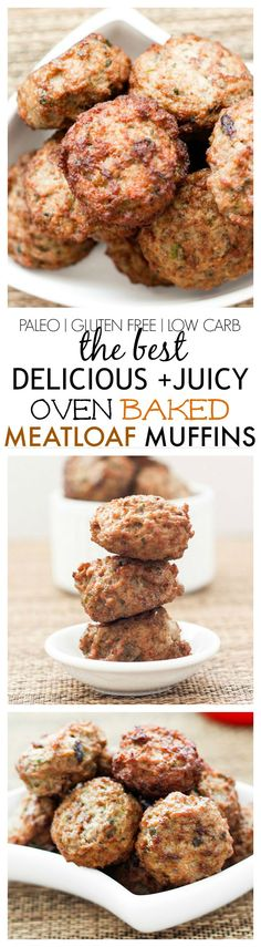 Healthy {delicious + juicy!} Oven Baked Meatloaf Muffins- Say goodbye to dry muffins- Perfect for batch cooking + freezing! {paleo + gluten free!}