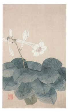 Sin Myeong-yeon신명연(申命衍, 1809-1886), Flower painting, Joseon Dynasty, Light Color on Silk, National Museum of Korea.