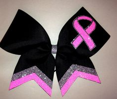 Breast Cancer Double glitter Black Cheer Bow by iSparkleBows Cute Cheer Bows, Cheer Hair Bows, Cheer Mom, Cheer Stuff, Youth Cheer, Cheer Coaches, Breast Cancer Bows, Cheerleading Bows, Volleyball Bows