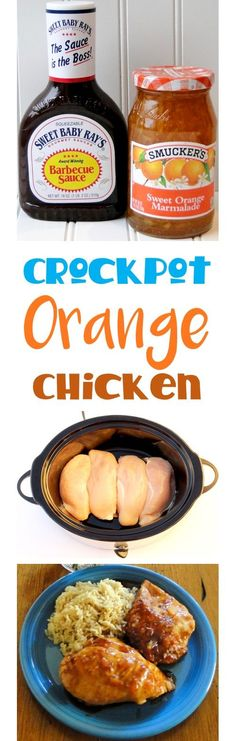 Crockpot Chicken Recipes!  Easy Crock Pot Orange Chicken is the perfect addition to your menu this week!  Just 4 Ingredients, simple to make, and so much better than takeout! | TheFrugalGirls.com